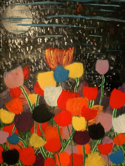 Tulips by Moonlight by George Hunter
