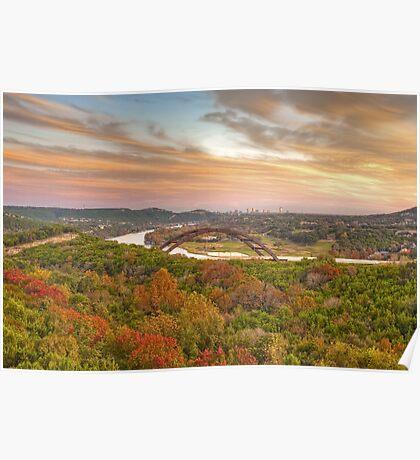 Pennybacker Bridge Autumn Colors - Austin, Texas Poster