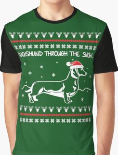 Dachshund Through The Snow, Ugly Christmas Sweater Graphic T-Shirt