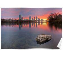 Austin Skyline in December from Ladybird Lake Poster