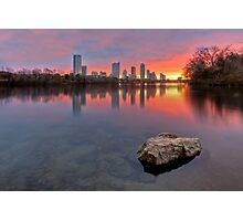 Austin Skyline in December from Ladybird Lake Photographic Print