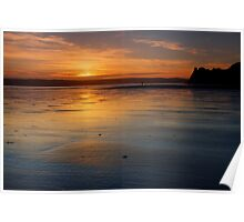 Sunset in Three Cliffs Poster