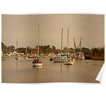 SAILBOATS IN THE BAY Poster