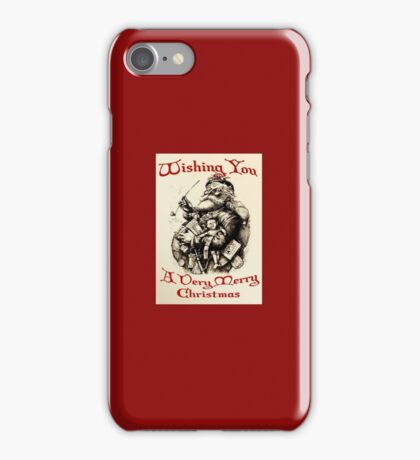 Vintage Santa Wishing You A Very Merry Christmas iPhone Case/Skin