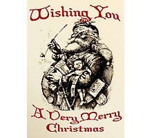 Vintage Santa Wishing You A Very Merry Christmas Photographic Print