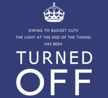 TURNED OFF tee-shirt design white letters by Gary Eason
