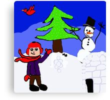 winter playground snowman igloo n boy Canvas Print