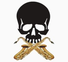 Skull with Saxophone Crossbones by shakeoutfitters