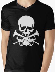 Skull with Trumpet Crossbones Mens V-Neck T-Shirt