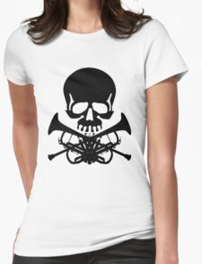 Skull with Trumpet Crossbones Womens Fitted T-Shirt