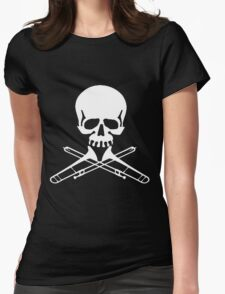 Skull with Trombone Crossbones Womens Fitted T-Shirt
