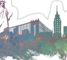 New York City skyline green Sticker