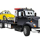 Black Tow Truck Flatbed Cartoon by Graphxpro