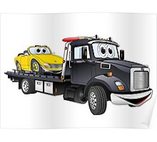 Black Tow Truck Flatbed Cartoon Poster
