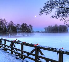 Moon Over Misty Frozen Lake by pixog