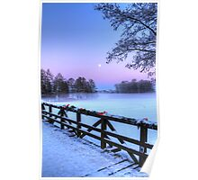 Moon Over Misty Frozen Lake Poster