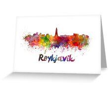 Reykjavik skyline in watercolor Greeting Card