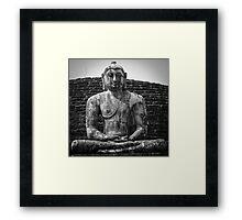 Buddha statue seated around stupa of The Polonnaruwa Vatadage Framed Print
