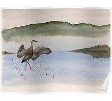 Crane in Fog Poster