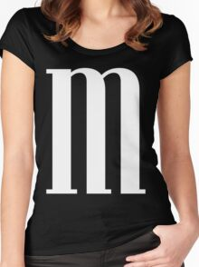 Letter M Print Women's Fitted Scoop T-Shirt