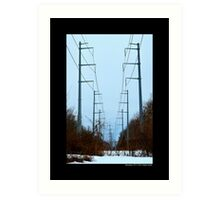 Transmission Towers Behind Nikola Tesla's Wardenclyffe Laboratory - Shoreham, New York Art Print