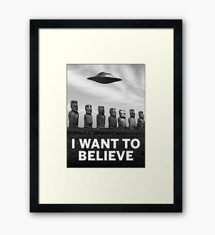 Want2Believe (Moai) Framed Print