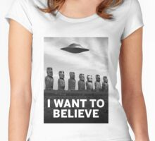 Want2Believe (Moai) Women's Fitted Scoop T-Shirt