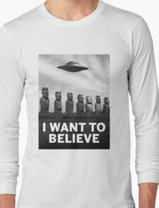 Want2Believe (Moai) Long Sleeve T-Shirt