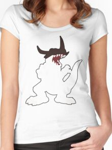 Simplistic Greymon - Linework Women's Fitted Scoop T-Shirt
