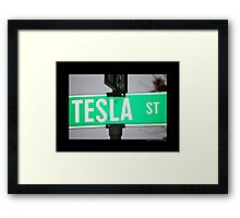 Nikola Tesla Street Sign - Shoreham, New York Framed Print