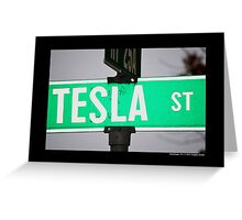 Nikola Tesla Street Sign - Shoreham, New York Greeting Card