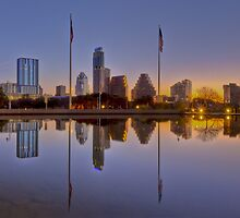 Austin Skyline from Long Center Pool 1 by RobGreebonPhoto