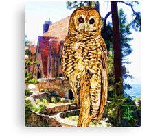 Owl At Lodge Canvas Print
