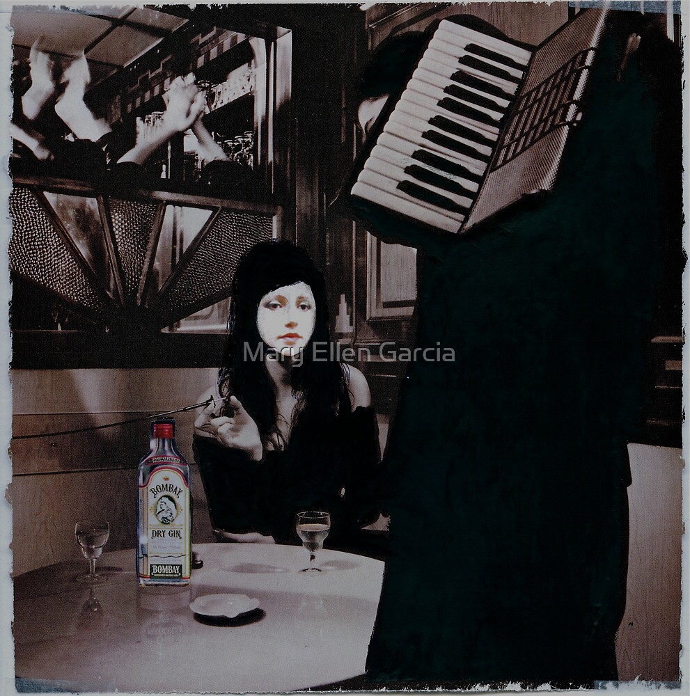 Me with a Cigarette and a Bottle of Booze - Self Portrait by Mary Ellen Garcia