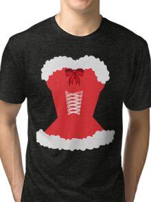 red santa corset christmas corset Mrs Claus Tri-blend T-Shirt