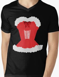 red santa corset christmas corset Mrs Claus Mens V-Neck T-Shirt
