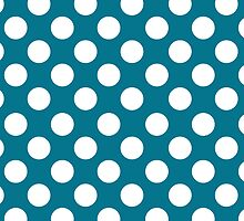White dots on blue - retro style 2 by CatchyLittleArt