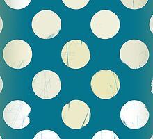 White dots on blue - retro style OLD by CatchyLittleArt