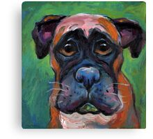 Cute Boxer dog puppy portrait painting by Svetlana Novikova Canvas Print