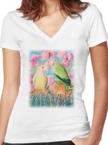 Peach-faced Lovebird Women's Fitted V-Neck T-Shirt