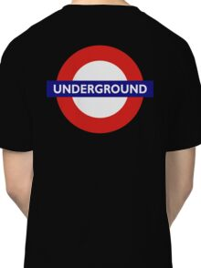 UNDERGROUND, TUBE, LONDON, GB, ENGLAND, BRITISH, BRITAIN, UK on BLACK Classic T-Shirt