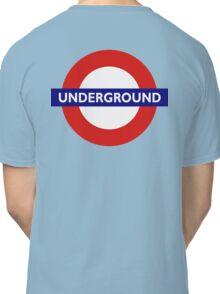 UNDERGROUND, TUBE, LONDON, GB, ENGLAND, BRITISH, BRITAIN, UK on BLACK Classic T-Shirt
