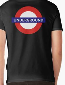 UNDERGROUND, TUBE, LONDON, GB, ENGLAND, BRITISH, BRITAIN, UK on BLACK Mens V-Neck T-Shirt