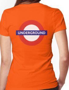 UNDERGROUND, TUBE, LONDON, GB, ENGLAND, BRITISH, BRITAIN, UK on BLACK Womens Fitted T-Shirt