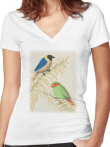 Golden-collared Tanager and Grass-green Tanager Women's Fitted V-Neck T-Shirt