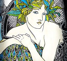 """Appropriation of Alphonse Mucha's """"Woman with Poppies"""" 1898 by Ashleia Hoskin"""