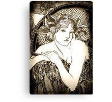 """Appropriation of Alphonse Mucha's """"Woman with Poppies"""" 1898 B&W sepia Canvas Print"""