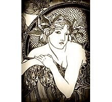 """Appropriation of Alphonse Mucha's """"Woman with Poppies"""" 1898 B&W sepia Photographic Print"""