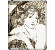 "Appropriation of Alphonse Mucha's ""Woman with Poppies"" 1898 B&W sepia iPad Case/Skin"
