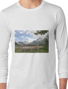Lonely Bench in the Middle of Nowhere at the Alpine Mountains Long Sleeve T-Shirt